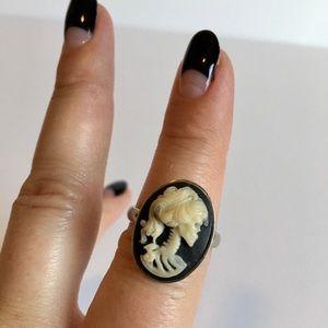 Cameo Skeleton Ring - Engraved - Silver